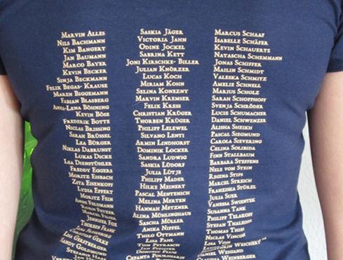 Bedruckte Namensliste Abi Shirt